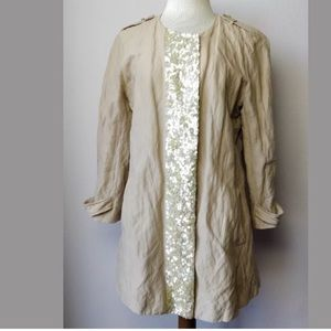 Gryphon NY Beige Cotton/Linen Sequence Trench Coat